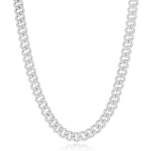 Made in New York City, Thin Cuban Link Necklace is brass silver embellished with cubic zirconia stones.