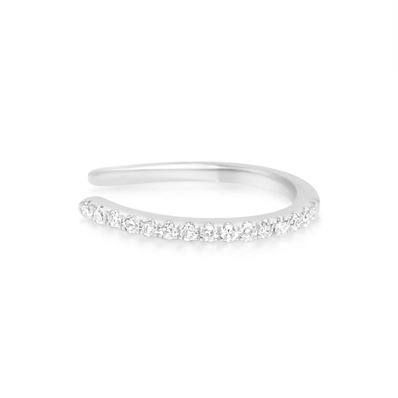 Made in New York City, our beautiful cuff is  14K 925 sterling silver embellished with cz round diamonds. Hypoallergenic.