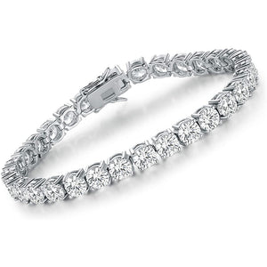 Made in New York City, our beautiful brass silver bracelet coated with cubic zirconia stones. Hypoallergenic.
