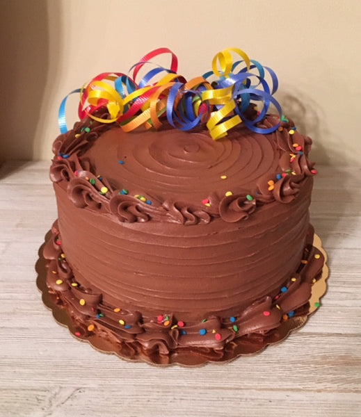 Chocolate Cake with multi-colored ribbon