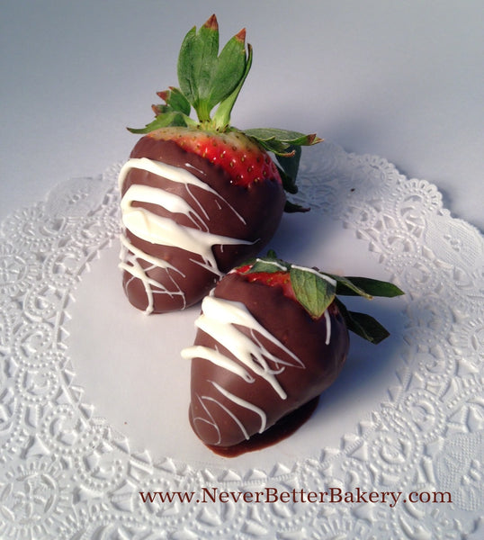 Traditional-Dark Chocolate with White Chocolate Drizzle Covered Strawberries
