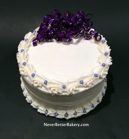 Purple Ribbon White Cake with Pearls