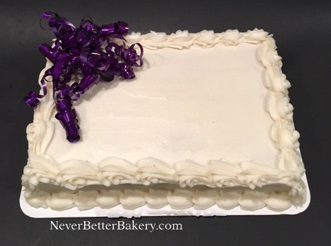 Purple Ribbon White Cake with Vanilla Buttercream