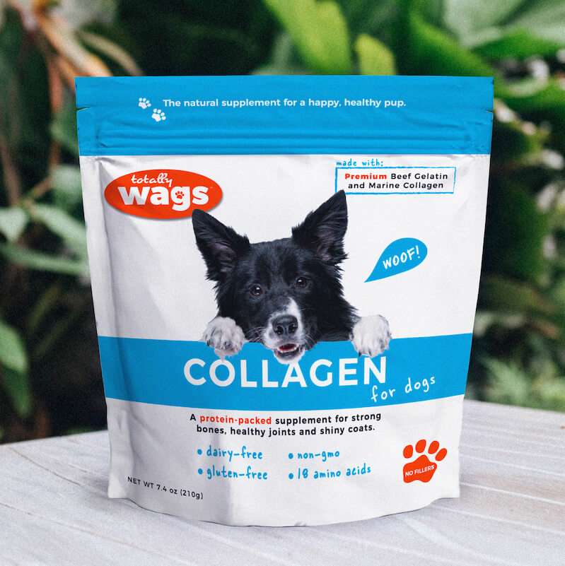 Totally Wags Collagen for Dogs on Table Outside