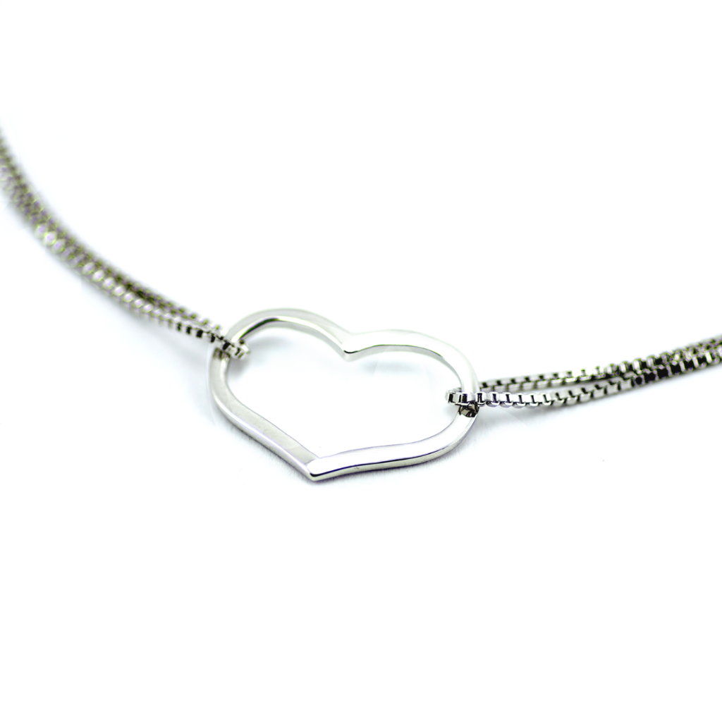 925 Silver Heart Bracelet and Necklace Set