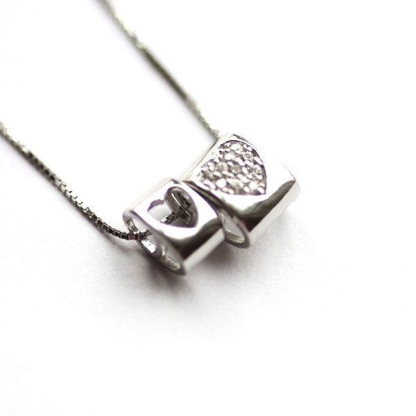 Mini Charm heart pendant necklaces, solid silver pendant necklace