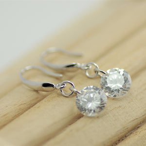 Silver Droplet Earring, Crystal Droplet, Vibrant Crystal, .925 Sterling Silver Crystal Teardrop Earrings
