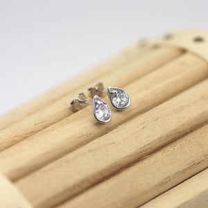 Sterling Silver Studs, Tear drop sterling Silver Stud Earrings