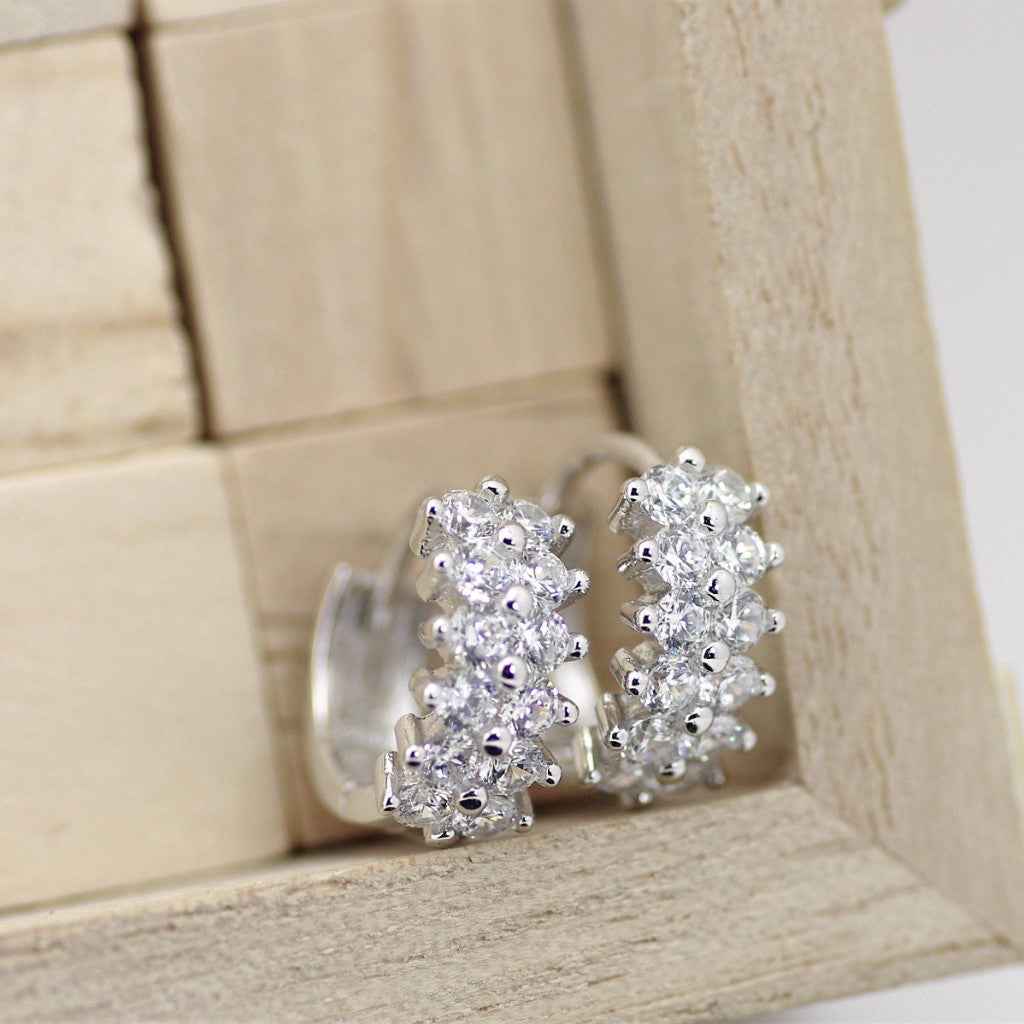 Silver Wide Huggie Earrings, Hoop Huggies Earrings, Dual Row Set Design, 925 Solid Sterling Silver