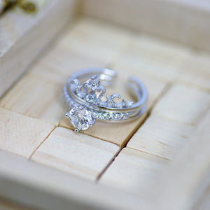 Stunning Princess Crown Silver Ring, Dual Wear Ring, 2 Band in One