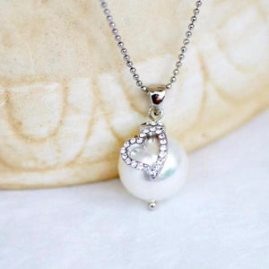 Heart Pearl Necklace, Crystal Necklace, Solitaire Pearl