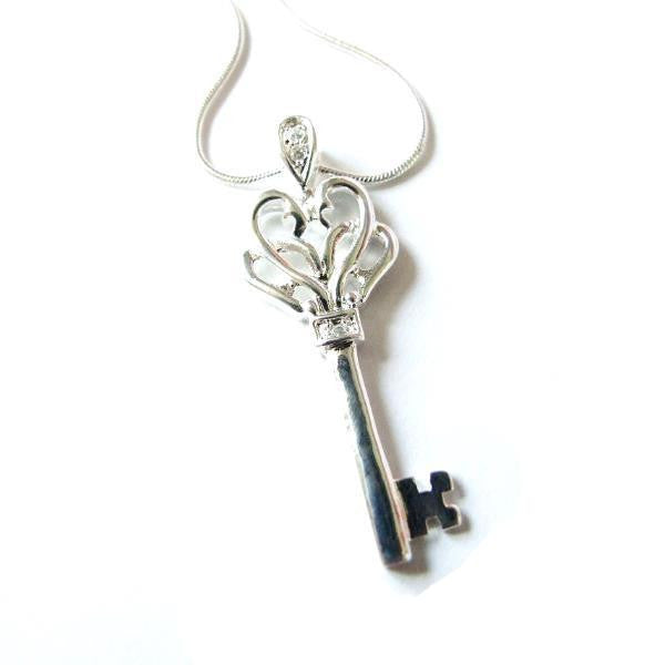 Sterling Silver Key Pendant Necklace, Pendant Necklace, Key Necklace