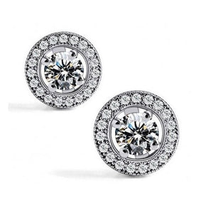 Elegant crystal earring round snowball, princess earrings in fine sterling silver