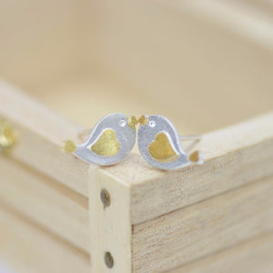 Love Bird Stud Earrings, Bird Studs, Gold and Silver Bird Stud, Made with Fine Sterling Silver
