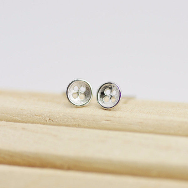 Silver Button Stud Earrings, Sterling Silver Stud, Button Studs, Mini Studs