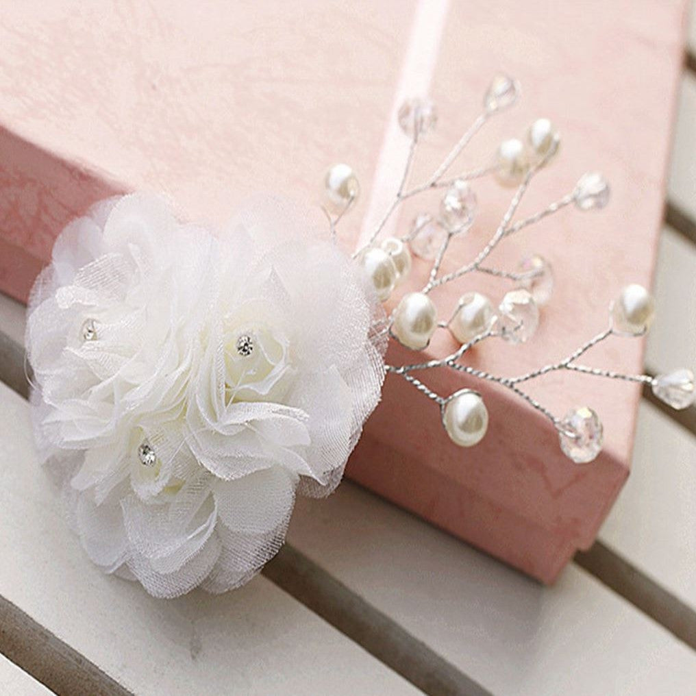 Lace flowery Hairclip, Pearl Hair Clip