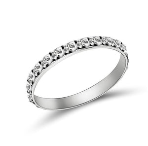 Patterned Stackable Sterling Silver Band