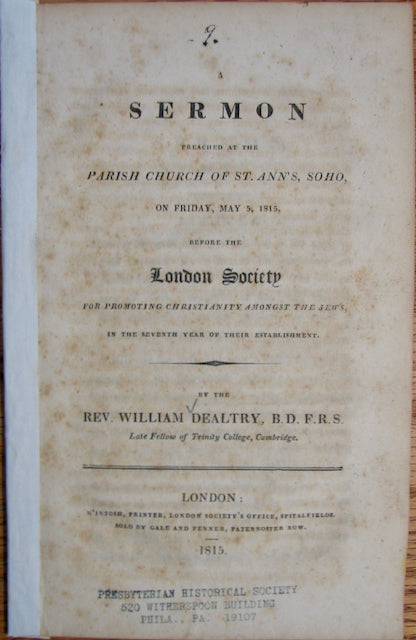 Dealtry, William. A Sermon preached...before the London Society for Promoting Christianity amongst the Jews