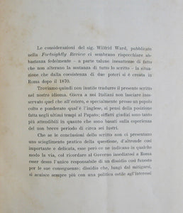 Ward, Wilfrid. Vaticano e Quirinale (Dalla Fortnightly Review di Londra), Marzo 1899