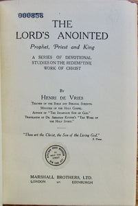 Henri de Vries. The Lord's Anointed: Prophet, Priest and King