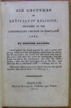 Load image into Gallery viewer, Rayner, Menzies. Six Lectures on Revivals of Religion, 1834