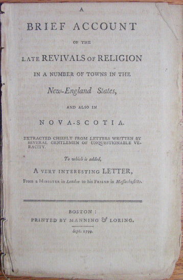 Baldwin, A Brief Account of the late Revivals of Religion in a number of towns in the New-England States, and also in Nova Scotia
