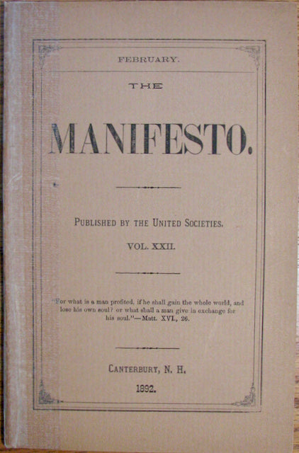 Blinn, C. Henry. The Manifesto. Vol. XXII. February, 1892 [Shaker]