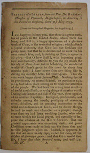 Robbins, Chandler.  Extract from a letter from the Rev. Dr. Robbins, minister of Plymouth, Massachusetts, in America: to his friend in England, dated 31st May, 1793