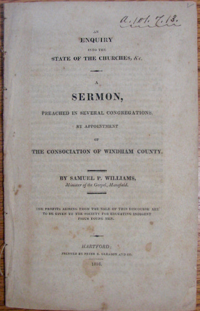 Williams, Samuel P. An Enquiry into the State of the Churches