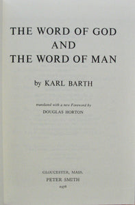 Barth, Karl.  The Word of God and the Word of Man