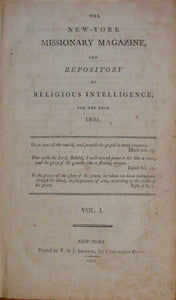 Davis, Cornelius. New-York Missionary Magazine, and Repository of Religious Intelligence; for the year 1800