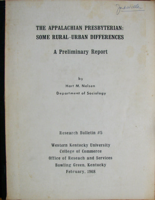 Nelson, Hart M. The Appalachian Presbyterian: Some Rural-Urban Differences
