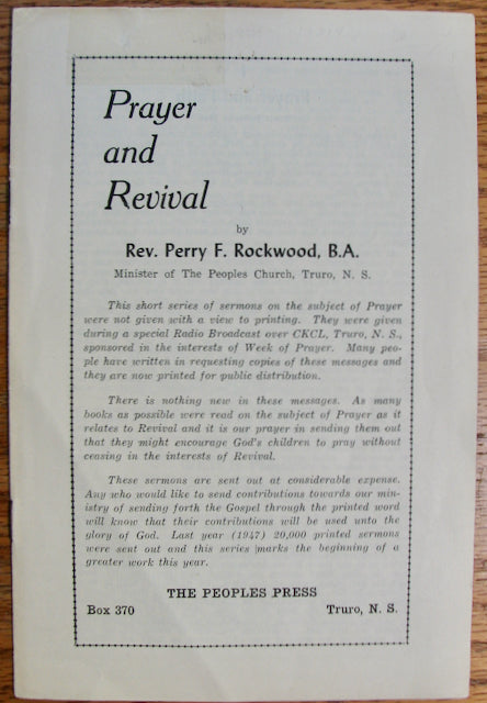 Rockwood, Perry F. Prayer and Revival