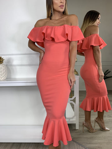 Let's Dance Coral Midi Dress