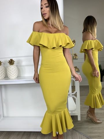 Let's Dance Yellow Midi Dress