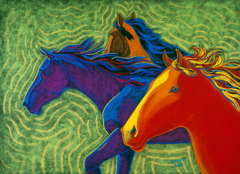Wild Horses - signed limited edition print by Cynthia Sampson- 10% from each sale donated to Wild for Life Foundation