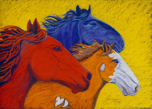 Wild Horses II - signed limited edition print by Cynthia Sampson- 10% from each sale donated to AWHC