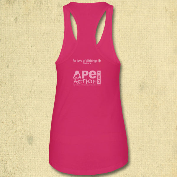 Ape Action Africa - Ladies Racerback Tank - Raspberry