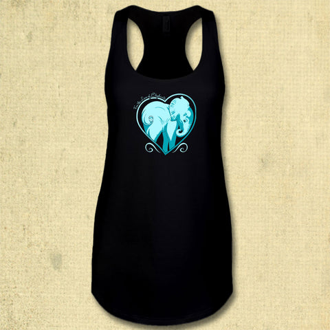 For the Love of Elephants - Ladies Racerback Tank - Black