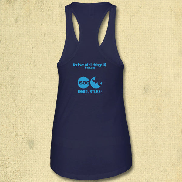 Turtle Flow - Ladies Racerback Tank - Midnight Navy