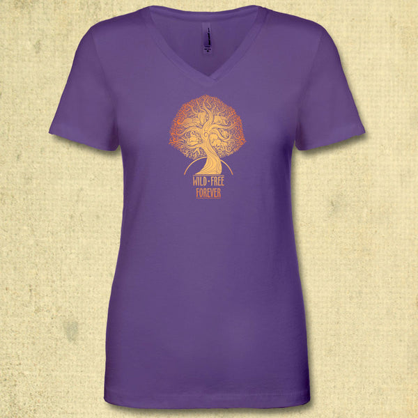Wild & Free Forever - Ladies Fitted V-Neck - Purple Rush