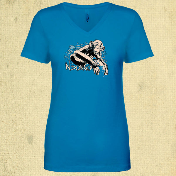 Ape Action Africa - Ladies Fitted V-Neck - Turquoise