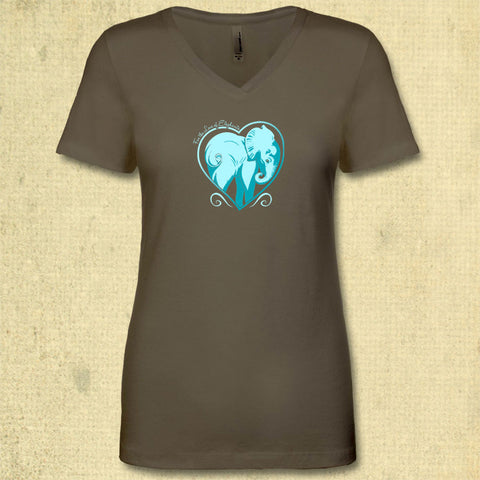 For the Love of Elephants - Ladies Fitted V-Neck - Military Green