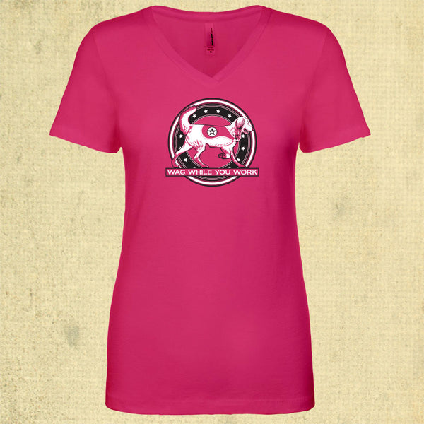 Wag While You Work - Ladies Fitted V-Neck - Raspberry