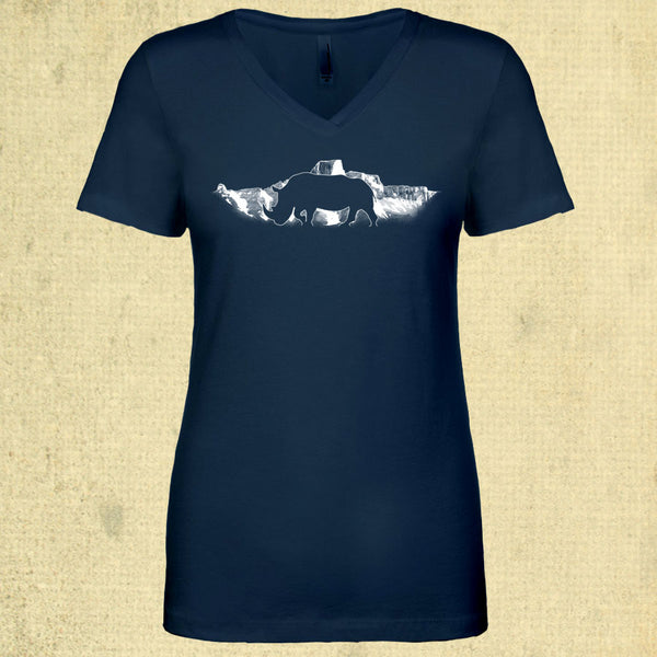 Rhino Horizon - Ladies Fitted V-Neck - Indigo