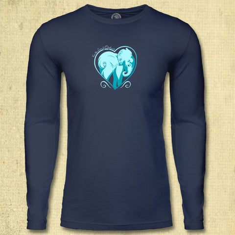 For the Love of Elephants - Adult Long Sleeve - Indigo