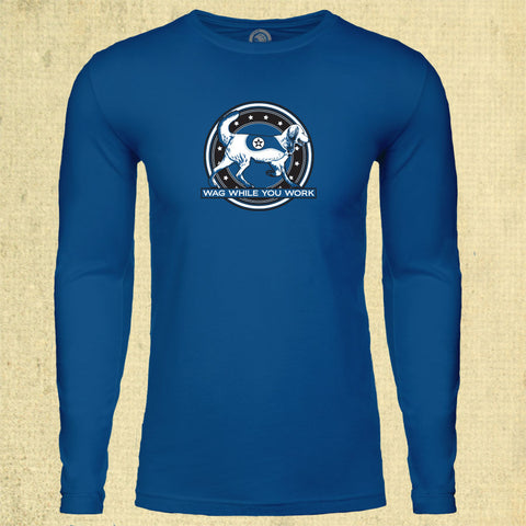 Wag While You Work - Adult Long Sleeve - Cool Blue