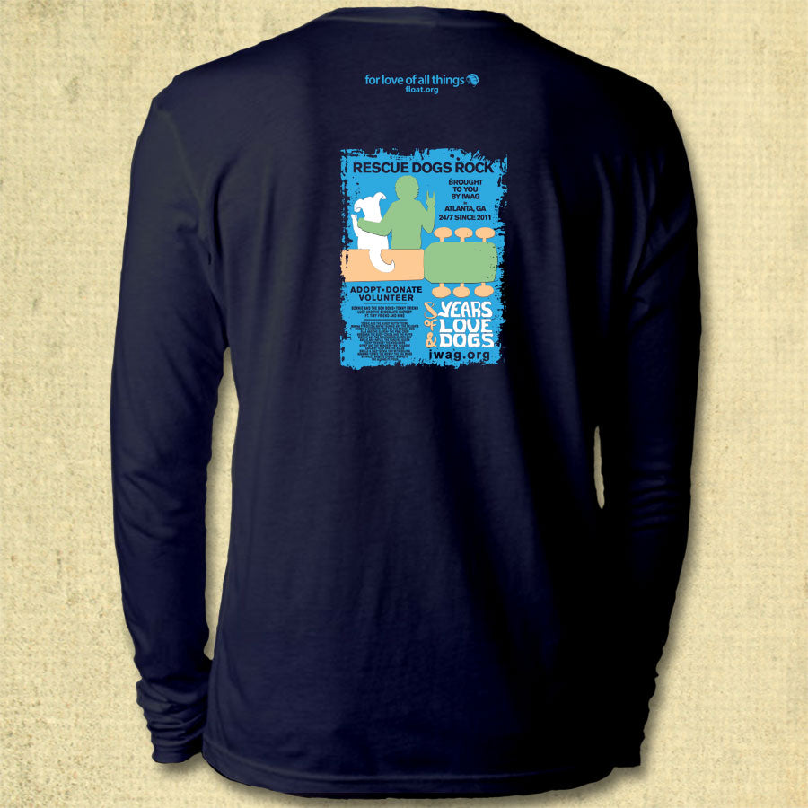 Rescue Dogs Rock Adult Long Sleeve Midnight Navy