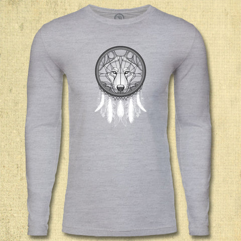 Dreamcatcher Wolf - Adult Long Sleeve - Heather Gray
