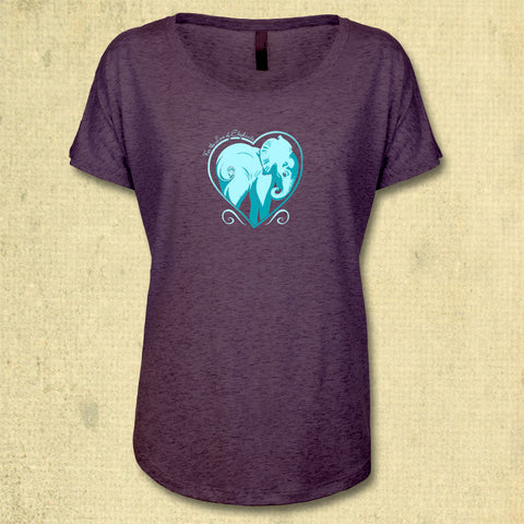 For the Love of Elephants - Ladies Triblend Dolman - Vintage Purple